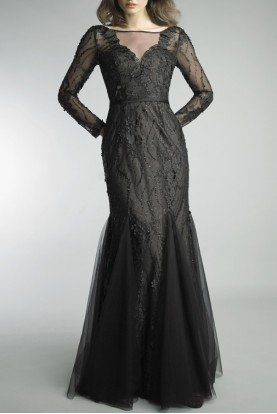 Black Long Sleeve Trumpet Gown