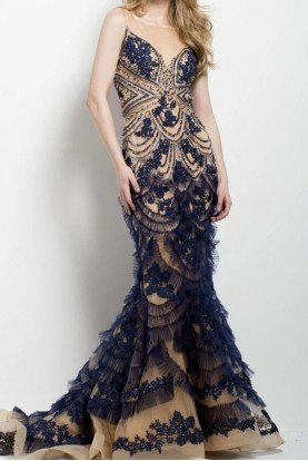 Jovani Beaded and Embroidered Navy Mermaid Gown