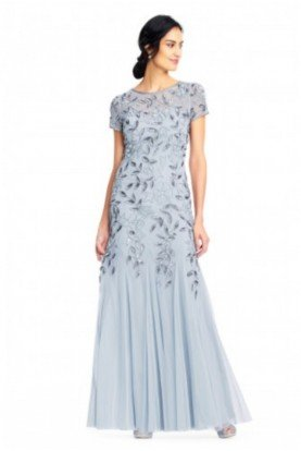 Adrianna Papell Gatsby Art Deco Sequin Gown Blue Heather