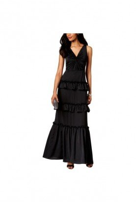 Adrianna Papell Black  A Line Gown Cascading Tiered V Neck Prom