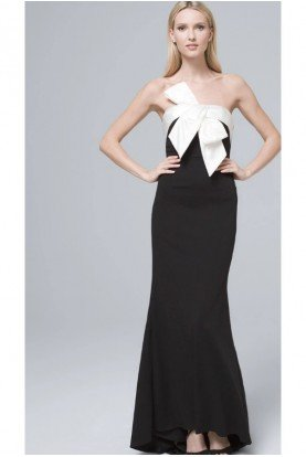 Adrianna Papell Bow Front Black White Gown Column Mermaid Gala