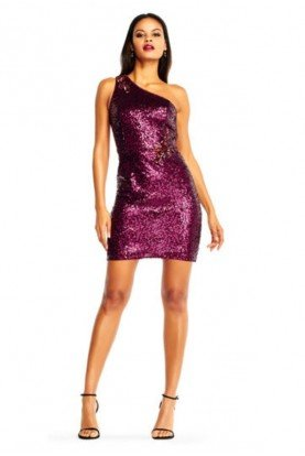 Aidan Mattox Asymmetrical Sequin Sheath Dress Wine