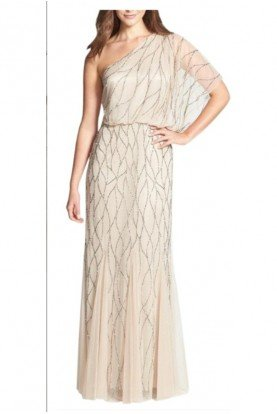 Beaded One Shoulder Blouson Gown Nude Champagne