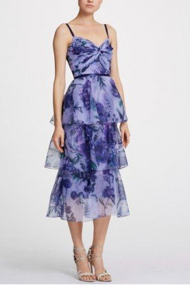 Sleeveless Floral Organza Midi-Tea Lilac Dress