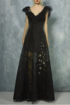 Black Cap Sleeve Evening Gown