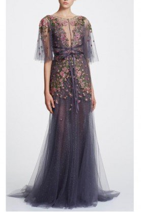 Sleeveless Illusion V-Neck Tulle Gown Capelet