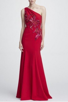Marchesa Notte One Shoulder Stretch Crepe Red Gown