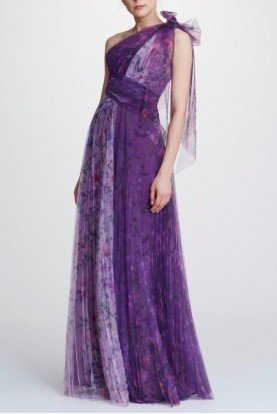 Marchesa Notte One Shoulder Printed Tulle Gown N32G0914