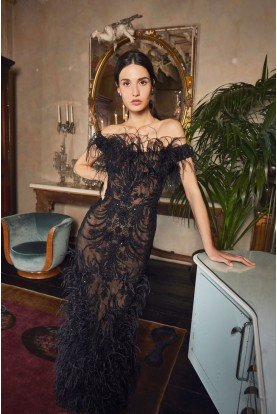 Lace Embroidered Column Black Gown