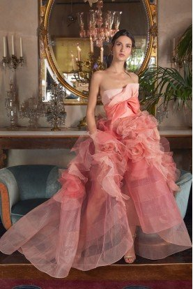 Ombre Can-Can Strapless Coral Ball Gown