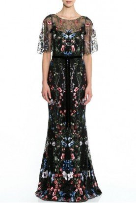 Sequin Embroidered Black Gown