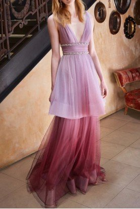 Sleeveless Ombre Tulle Lilac Gown
