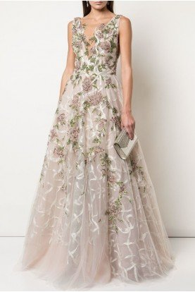 Plunging V-Neck Tulle Beige Gown