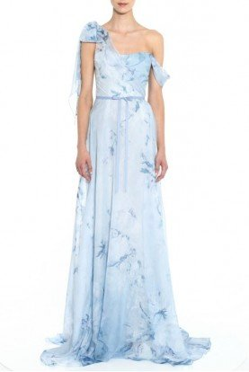 One Shoulder Chiffon and Lace Light Blue Gown