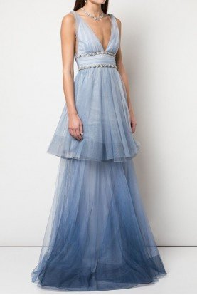 Sleeveless Ombre Tulle Light Blue Gown