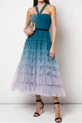 Ombre Textured Tulle Blue Midi Dress