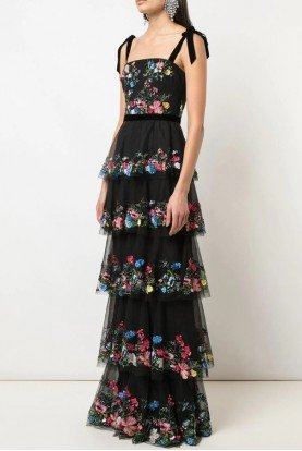 Embroidered Tulle Black Gown