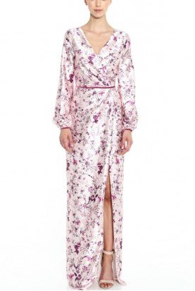 Long Sleeve Printed Light Pink Gown