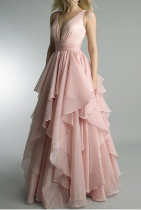 Sleeveless Layered Evening Pink Gown