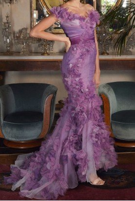 Ombre Texture Organza Purple Gown