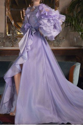 Long Sleeve Ombre Tulle Organza Opal Gown
