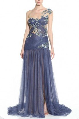 Draped Illusion Neck Stormy Blue Gown