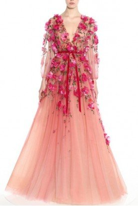 Long Sleeve Ombre Tulle Magenta Gown