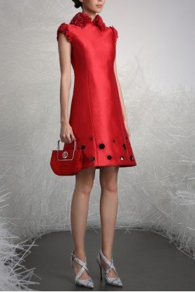 Ruffled Cap Sleeve Red Cocktail Dress