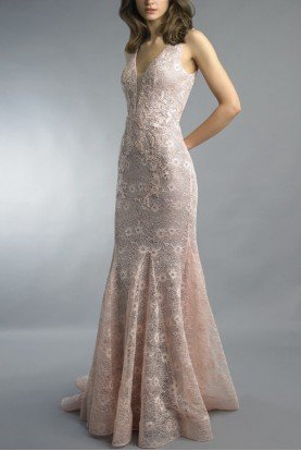 Sleeveless Deep V Evening Pink Gown