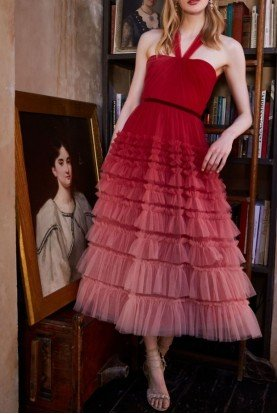 Ombre Textured Tulle Red Midi  Dress