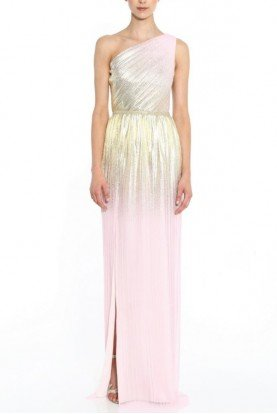 Pleated One Shoulder Blush Gown