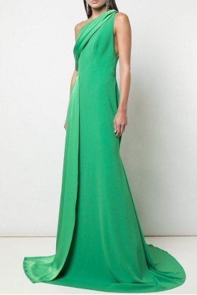 Alex Perry  Hollis-One Shoulder Satin Crepe Green Gown