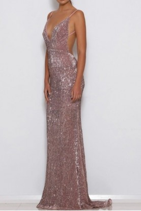 Abyss by Abby Blush Pink Sequin Jilah Gown Open Back
