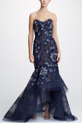 Marchesa Strapless Navy Fit to Flare Hi-Lo Gown
