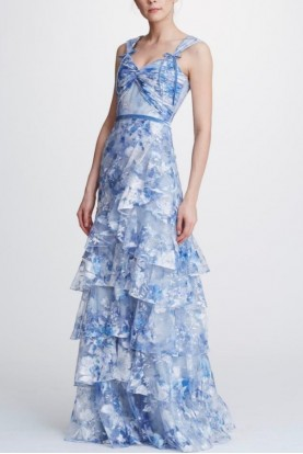 Marchesa Notte Printed Embroidered Tiered Light Blue Gown