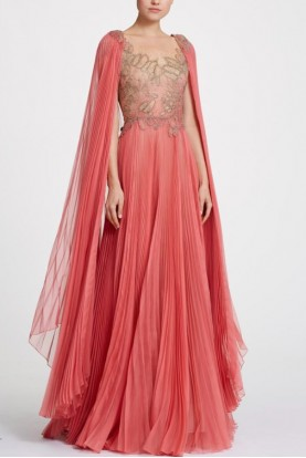 Marchesa Organza and Illusion Coral Tulle Gown Cape