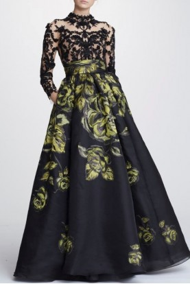 Marchesa Long Sleeve Jacquard Citrine Ball Gown