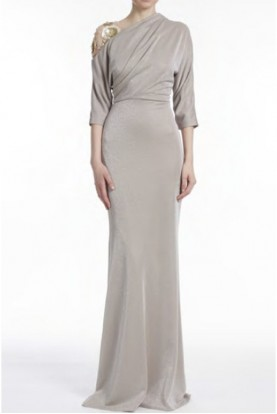 Badgley Mischka Fitted Beige Asymmetrical Gown