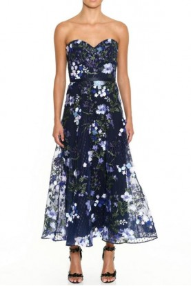 Marchesa Strapless Embroidered Navy Tea-Length Gown