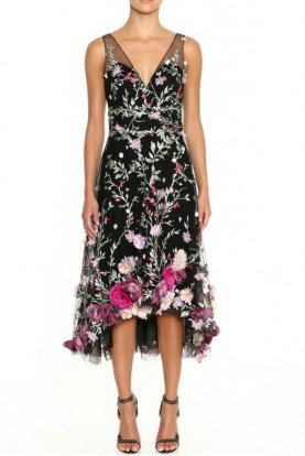 Marchesa Black Sleeveless V-Neck Embroidered Hi-Lo