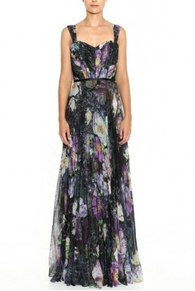 Marchesa Sleeveless Sweetheart Pleated Printed Chiffon Gown
