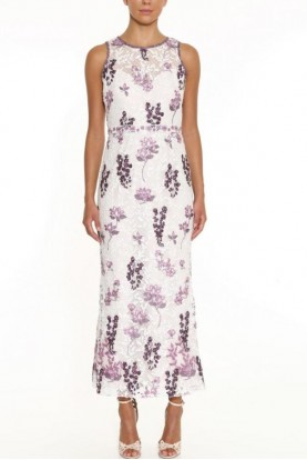Marchesa Sleeveless Embroidered Lilac Tea-Length Gown