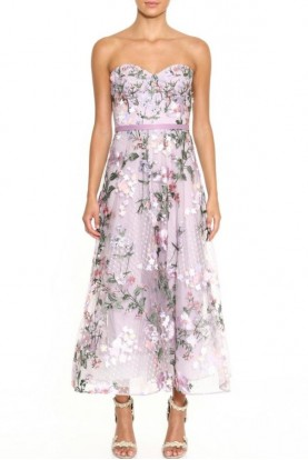 Marchesa Strapless Embroidered Tea-Length Lilac Gown