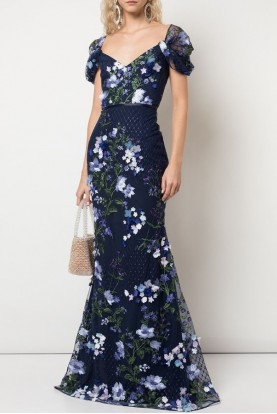 Marchesa Cold shoulder Embroidered Navy Gown