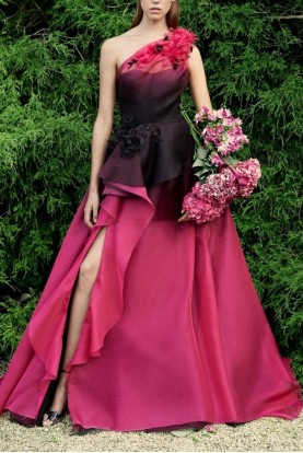 Marchesa One Shoulder Tulle and Organza Cerise Ball Gown