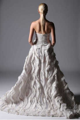 Divina by Edward Arsouni Strapless Feathered Ecru Evening Ball Gown