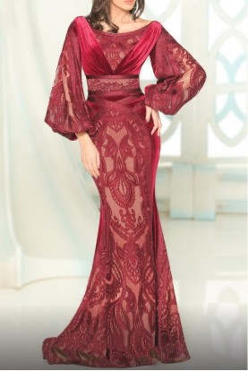 Fouad Sarkis Couture Long Sleeve Velvet Infused Burgundy Gown