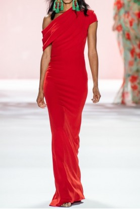 Badgley Mischka Asymmetric Fitted Red Gown