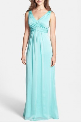 Adrianna Papell Aqua Mint Dress V neck A line Chiffon Gown