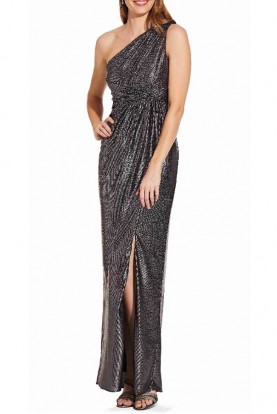 Adrianna Papell One Shoulder Gunmetal Jersey Gown Prom Dress